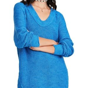 NWT Free People Sunday Scoopneck Sweater Cerulean